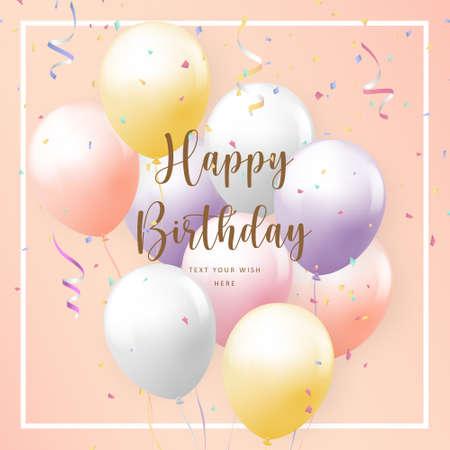 Elegant girlish colorful ballon Happy Birthday celebration card banner template background Stock Illustratie