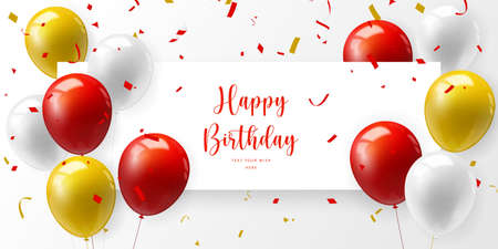 Red yellow realistic ballon and ribbon Happy Birthday celebration card banner template background Stock Illustratie