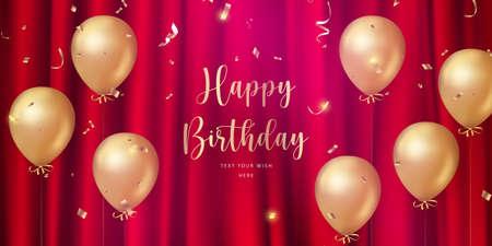 Elegant luxury golden ballon and red silk curtain background Happy Birthday celebration card banner template