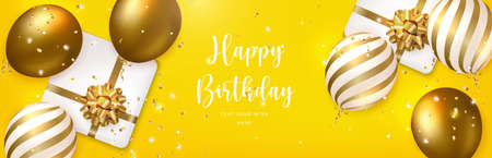 Elegant golden ballon and present gift box with flower ribbon Happy Birthday celebration card banner template background