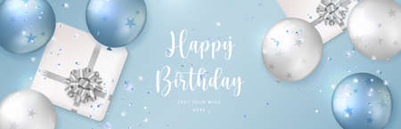 Elegant blue white silver ballon and present gift box with flower ribbon Happy Birthday celebration card banner template background Stock Illustratie