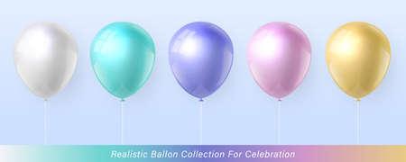 3D realistic elegant pastel color ballon collection for celebration design