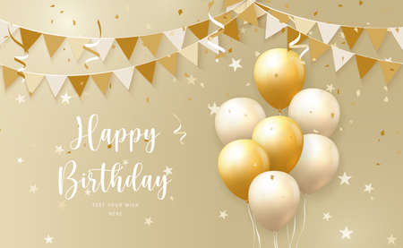 Elegant yellow golden ballon and ribbon flag Happy Birthday celebration card banner template background