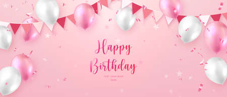 Elegant vibrant pink ballon and party propper ribbon flag Happy Birthday celebration card banner template background