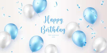 Elegant blue white ballon and party propper ribbon Happy Birthday celebration card banner template background Stock Illustratie