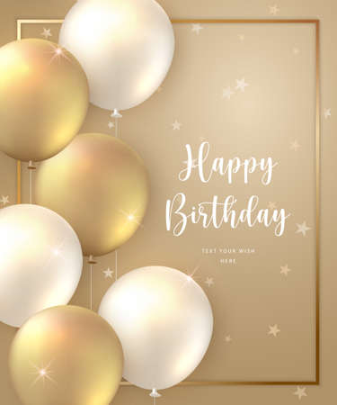 Elegant golden ballon and frame Happy Birthday celebration card banner template background