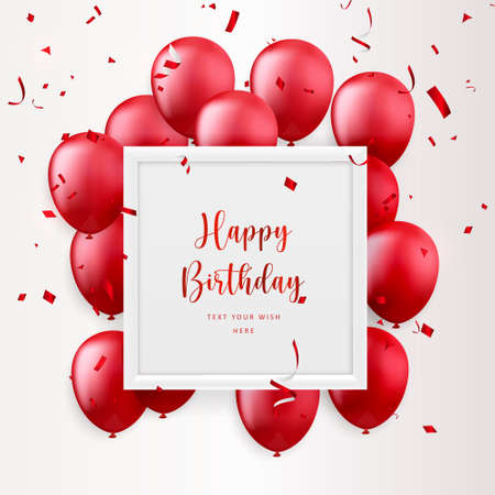 Elegant red ballon and square frame party propper ribbon Happy Birthday celebration card banner template background