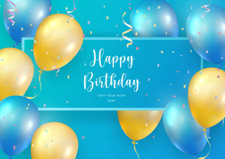 Elegant blue yellow ballon and party popper ribbon Happy Birthday celebration card banner template background