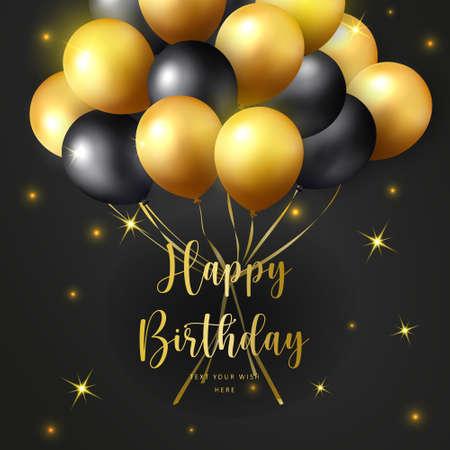 Elegant golden yellow black ballon Happy Birthday celebration card banner template background
