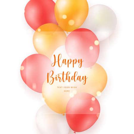 Elegant yellow orange red ballon Happy Birthday celebration card banner template background