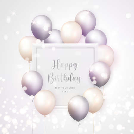 3D realistic elegant lilac grey cream white ballon and square frame Happy Birthday celebration card banner template background 向量圖像