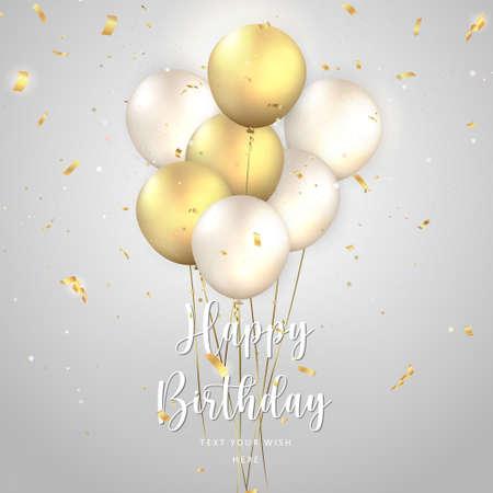 Elegant golden silver white ballon and party popper ribbon Happy Birthday celebration card banner template background 向量圖像