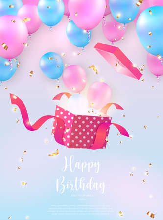 Elegant girlish pink blue ballon pop out from a present gift box Happy Birthday celebration card banner template background