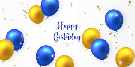 Elegant yellow golden blue ballon and party popper ribbon Happy Birthday celebration card banner template 向量圖像