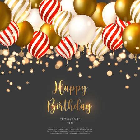 Elegant luxury golden spiral red strip ballon Happy Birthday celebration card banner template background