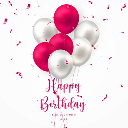 Elegant red silver white ballon and party popper ribbon Happy Birthday celebration card banner template