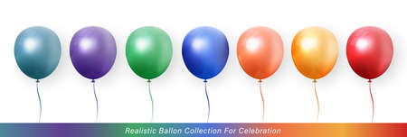 3D realistic elegant vibrant vivid color ballon collection for celebration design