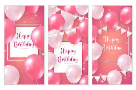 Elegant rose pink ballon and ribbon flag set of Happy Birthday celebration card banner template