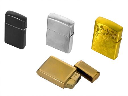 Four cigarette lighters isolated on white background photo