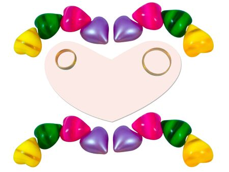 papery: Two rings on papery heart around many little color hearts