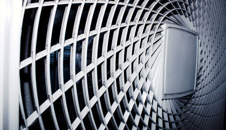 spiral: Industrial air conditioning system close up from a side view. Stock Photo