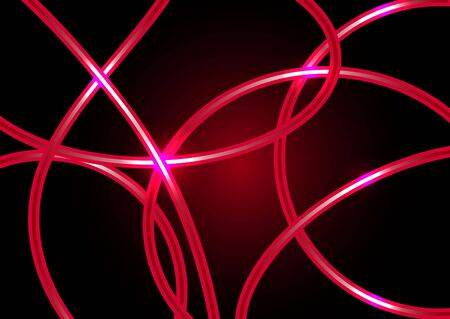 phosphorescence: Abstract neon lines on a red background