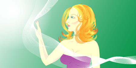 beautiful red-haired girl with freckles and a transparent scarf on a green background, portrait profile Illustration
