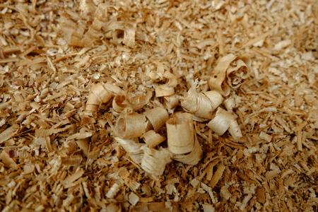 Wood sawdust texture. Carpenter workplace. Standard-Bild