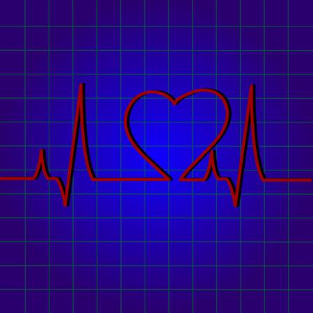 analyze: Vector background heart pulse