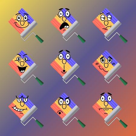 desprecio: Conjunto de iconos del vector del arco iris de rodillos dibujados por la pintura. La alegría, el choque, la duda, el desprecio, la sorpresa, la vergüenza, la ira, el desconcierto. Vectores
