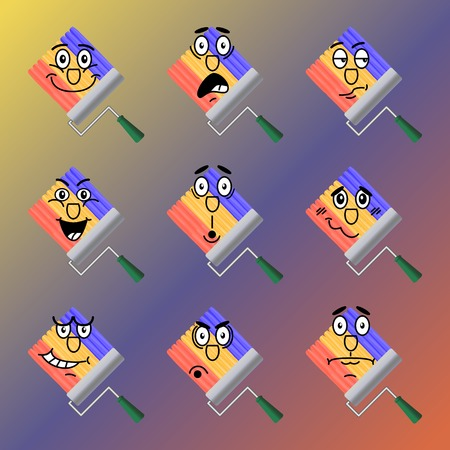 embarrassment: Set of rainbow vector icons drawn roller for painting. Joy, shock, doubt, contempt, surprise, embarrassment, anger, bewilderment.