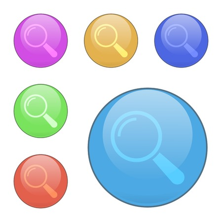 Set of vector search buttons. The shape is round. Suitable for web sites, mobile and desktop applications. Colors: red, blue, orange, pink, green.