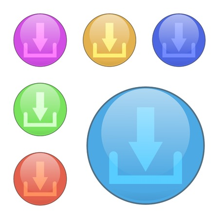 vector download: Set of vector download buttons. The shape is round. Suitable for web sites, mobile and desktop applications. Colors: red, blue, orange, pink, green.
