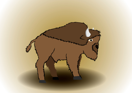 bison: Illustration bison. Power and strength of character .