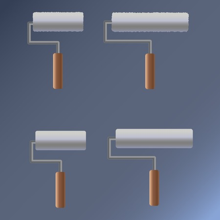 house painter: Vector set of rollers for painting. Wooden handle. Illustration