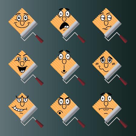 desprecio: Conjunto de iconos del vector de rodillos dibujados por la pintura. La alegría, el choque, la duda, el desprecio, la sorpresa, la vergüenza, la ira, el desconcierto. Vectores