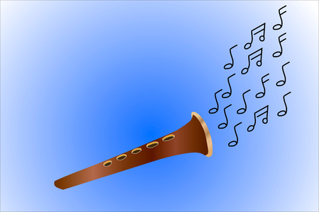woodwind: Flute made wood . Playing music and fly notes.  Blue background , brown and black flute notes. Illustration