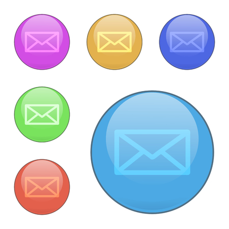 Set of contact us vector buttons. Color: blue, orange, pink, green, red. The shape is round. Mail icon. For websites, mobile and desktop applications. Illustration