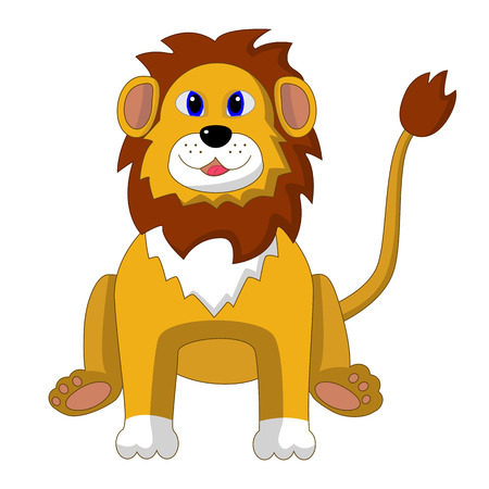 playful: Vector illustration of a sitting cartoon Lion. Cheerful, playful and smiling.