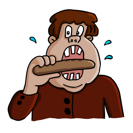 Vector illustration of a fat man eating a sausage. Unhealthy food. Active salivation. Illustration