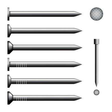 Vector illustration of a set of nails. Metallic image on a white background. With different heads.
