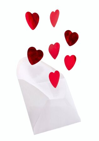 The red hearts which flying from the envelope  photo