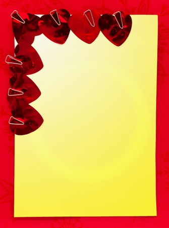 satined: The decoration for Valentine  card with bright red hearts