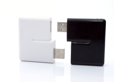 The device for reading  flash cards on the white background Stock Photo - 13759726