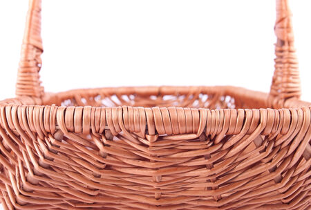 The side back of wicker basket isolated photo