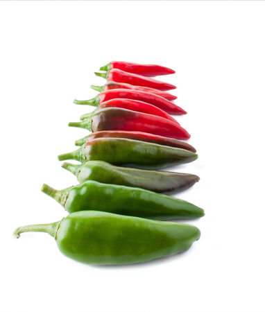 poignant: Color Transition with a Hot Peppers, Isolated on White Stock Photo