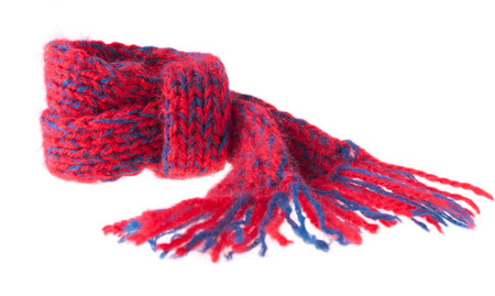 Little Knitted Scarf, Knotted, on the White Background