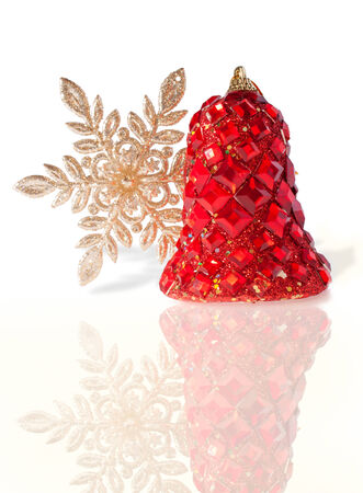 Splendid Christmas Bell Encrusted with Imitation Jewelry, Isolated photo