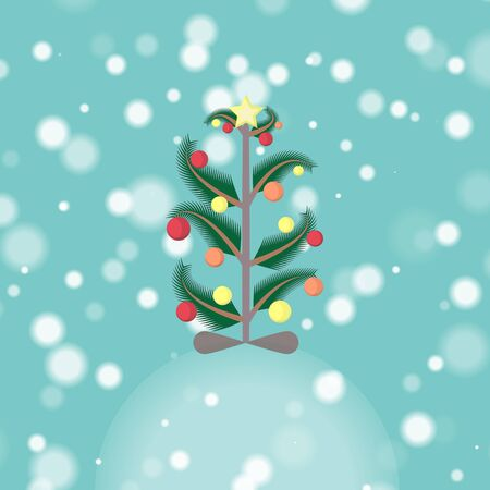 snowdrift: Christmas Tree standing on the Snowdrift in  Snowfall Decorated with Baubles and the Star