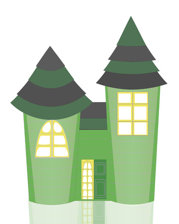 arched: Isolated Cartoon Green Castle with Two Towers, Striped Roof and Reflection